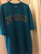 UNK NEW ORLEANS HORNETS NBA TEAL & PURPLE AUTHENTIC ON COURT TEE MEN'S XXL