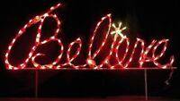 """Believe"" Xmas Sign in Cursive Outdoor LED Lighted Decoration Steel Wireframe"