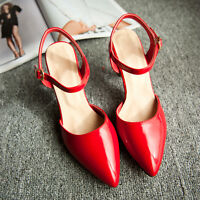 Ladies Womens Ankle Strap Mid Heel Pointed Toe Pumps Shoes UK Size 1--8 C230