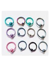 12 x St. Steel 1.2 Ball Nose Ring Septum Clicker Ear Helix Tragus Hoop 10mm 12mm