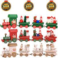 Christmas Wood Train Santa Claus Xmas Ornament Kids Toy Gift Festival Home Decor