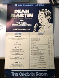Vintage Celebrity Room Menu Dean Martin MGM Grand Hotel Las Vegas Nevada