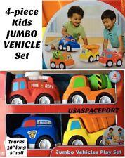 4 Kids JUMBO VEHICLES SET Police Car Fire Engine Construction Dump +Cement Truck