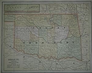 1887 Railroad, Indian Nation / Country, Agency & Fort Map ~  INDIAN TERRITORY