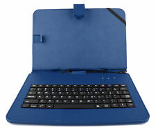 Blue Faux Leather Case with Micro USB Keyboard for Samsung Galaxy Tab 4 10.1
