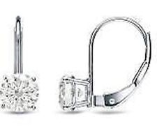 2 carat Round cut Diamond STUDS, GIA report G Color SI2 14k White Gold Earrings