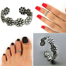 Elegant Flower Adjustable 925 Silver Plated Toe Ring Foot Jewelry BeachPhcbica