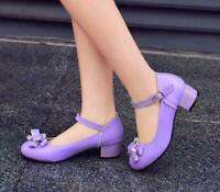 Women Sweet Candy Color Chunky Heels Mary Janes Ankle Strap Shoes Lady Sandals