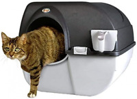 Omega Paw Elite Self-Cleaning Cat Litter Box, Pet Cleaning Black