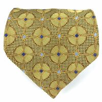 "Jos. A. Bank Tie Men's 100% Silk Gold Blue Geometric Necktie 59"" Made in Italy"