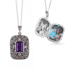 Lily Blanche Amethyst Locket Necklace Sterling Silver, Amethyst and Marcasite