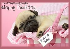 personalised birthday card Pug any name/age/relation/occasion