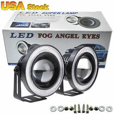 "2x 2.5"" 20W COB LED Fog Light Projector Car + white Halo Angle Eyes Ring Bulb"