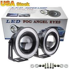 "2x 2.5"" 20W COB LED Fog Light Projector Car + white Halo Angle Eyes Ring Bulb"