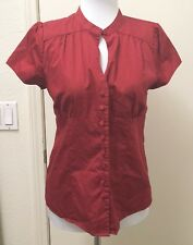 Alex Marie Petite Womens Red Key Hole Button Front Short Sleeve Top Blouse 12P