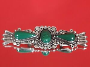 Vintage Bar Brooch intricate White Metal Mexico Silver Green Carved stone Onyx ?