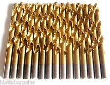 """15 HITACHI TITANIUM 3/8"""" HIGH SPEED STEEL DRILL BITS METAL GOLD HSS"""