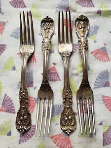 """Lot of 4 REED & BARTON Sterling Silver FRANCIS I Dinner Forks 7.25""""  No Monos"""