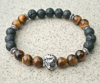 buddhism Unisex 8mm Tigereye Volcanic rocks Golden Lion Bracelet Meditation mala
