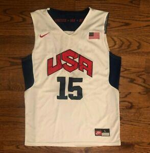 Carmelo Anthony #15 Team USA White Basketball Jersey Men's Large