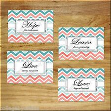 Teal + Coral Chevron Wall Art Prints Live Laugh Love Hope Quote Pictures Inspire