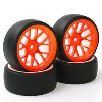 4PCS 1:10 RC Tires Orange Wheel Rim Kit For Speed Drift Racing Car HSP HPI DHO