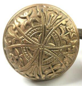 Ornate Antique Eastlake Doorknob Cast Lockwood 1890s Victorian Cross Floral OLD