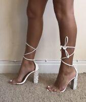 Size 5 Public Desire FATALE White Perspex Gem Diamanté Heels Shoes Lace Up Tie