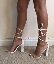 Size 4 Public Desire FATALE White Perspex Gem Diamanté Heels Shoes Lace Up Tie