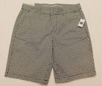 "NWT Gap Women's Khaki 9"" City Shorts Blue/White Print Size 0 MSRP$40 New"