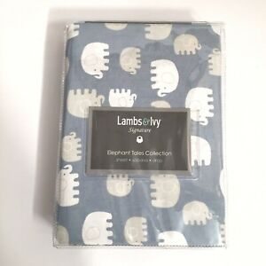 Lambs & Ivy Signature Elephant Tales Cotton Fitted Crib Sheet - Blue, White