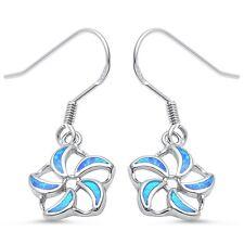 Blue Opal Dangle Drop Flower .925 Sterling Silver Earrings