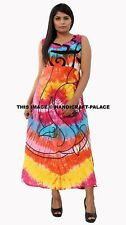 Women Boho Long Maxi Dress Tie Dye Beach Holiday Casual Summer Sundress Indian