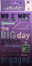 NEW 33 pc WEDDING Mr & Mrs. The Big Day Bride Groom Engaged  STICKO Stickers