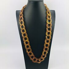 Light Amber Style Chunky Link Necklace Costume Plastic Retro Vintage Style