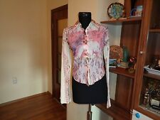 INDIAN ROSE LOVELY MULTICOLOR PANELED STRETCH SHORT SHIRT BELL SLEEVES-S,8-UK