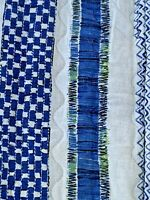 Vintage Mid Century Quilted Bedspread Coverlet Blue Abstract Graphic Fringe
