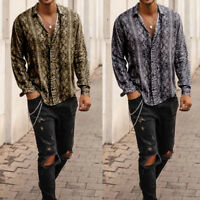 Men Long Sleeve V-Neck Loose Snake Printed Shirt Blouse Rayon Casual Tops Tee