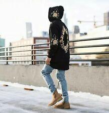 Men's Hoodie Hip Hop Sweatshirts Printed Flower Streetwear Pullover XL Black