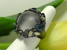 NEW Alexis Bittar Grey Lucite - Neo Bohemian Statement Ring. Size 7