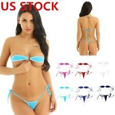 Women Micro Bikini Lingerie Swimwear Self-tie Bandeau Tube Bra Top G-String Set