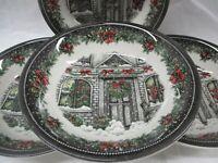 "Royal Stafford Christmas Home Soup/Cereal Bowl 7"" Set of Four EUC (AL)"