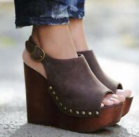 WOmen's Vintage High wedge Heels Platform Open Toe Slingbacks Roma Sandals Shoes
