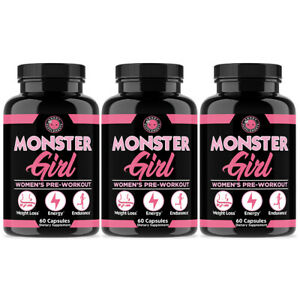 Monster Girl Pre-Workout & Weight Loss for Women (3-Pack)
