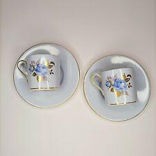 Vintage Aynsley England Espresso Fine Bone China Cup Saucer set of 2 Blue Rose