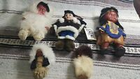 Lot of 5 Vintage Native American Indian Inuit Dolls - Canada