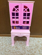 1994 Barbie Doll So Much To Do Dining Room Kitchen Cupboard Hutch Cabinet