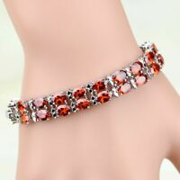 Red Garnet Double Row Round Stones Bracelet 925 Sterling Silver Link Chain 7""