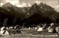 Garmisch Partenkirchen AK 1955 Partie auf dem Campingplatz Blick auf die Berge