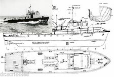 "Model Boat Plans Scale 40 "" Radio Control Fire Boat Plans & Building notes"